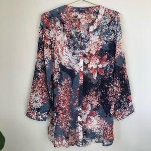 Roaman's plus size sheer floral top blouse